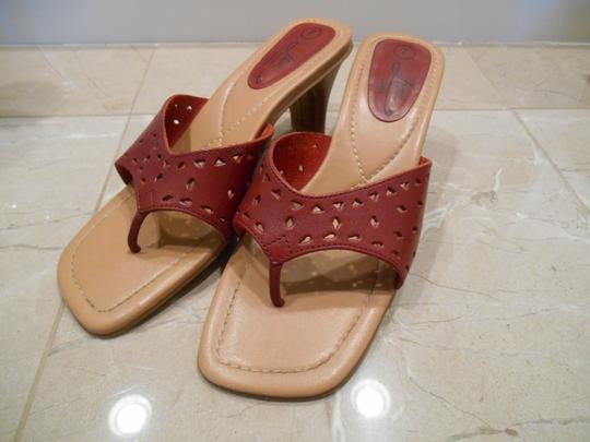 Fioni Real Leather Genuine Genuine Leather Slide Open Back Open Toe Beach Office Formal Heel Heels 7 M Flip Flops Fancy Cut Red Sandals