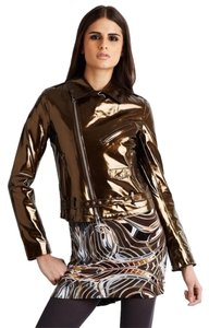 Custo Barcelona Moto Leather Women Bronze Leather Jacket