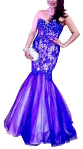 Royal Blue Mermaid/Trumpet Lace Sweetheart Strapless Corset at the Back Dress