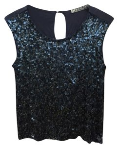 Chloe K Sequin Top Blue and Silver