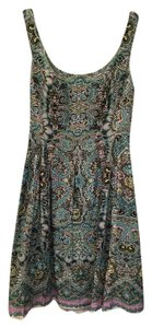 Nine West short dress Blue Multi Paisley Pleated on Tradesy