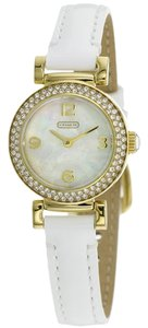 Coach Coach Madison 14501691 White Patent Leather Gold Tone Glitz Watch
