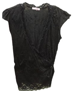Other Lace Trim Date Night Top Black