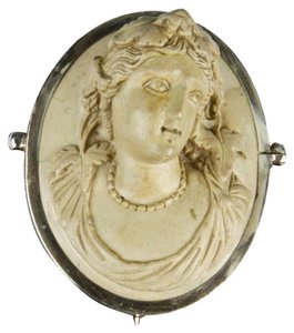 Victorian Lava Cameo Brooch Pin Hand Carved in High Relief