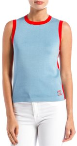 Chanel Blue Cotton Sleeveles Sweater Top Light blue/red trim