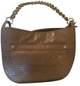 Gianni Bini Gold Hardware Khaki Zipper Braided Shoulder Bag