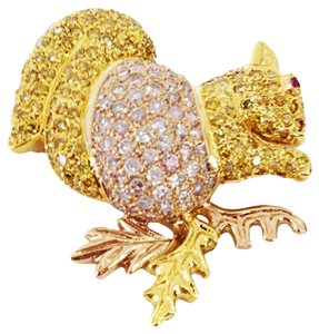 Natural Pink Yellow Diamond Encrusted Gold Squirrel Pin Brooch