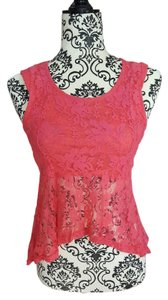 Hypnotik Tank Lace Sheer Top Pink