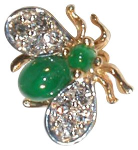 Gold Emerald and Diamond Fly Pin Brooch