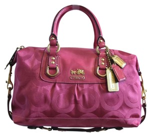 Coach Polished Brass Hardware Satchel in Pink