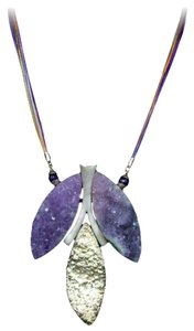 Natural Amethyst, Quartz and Sterling Silver Necklace