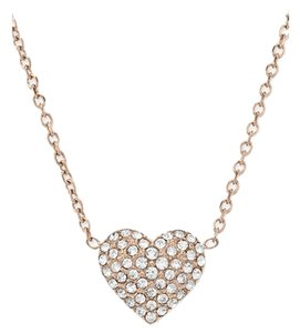 Michael Kors 10% off-SET Rose Tone Heart Earrings & Pave Crystal Heart Necklace