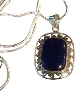 Lapis Gemstone Pendant Necklace in Sterling Silver Design