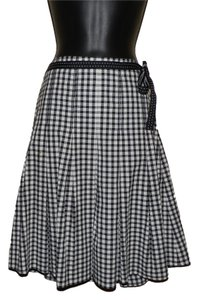 Mac & Jac Pleated Cotton Belted Ruffled Skirt Black & white