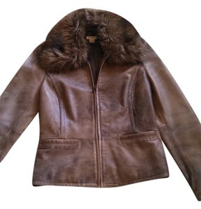 Nordstrom Bomber Faux Fur Distressed Brown/Taupe Leather Jacket