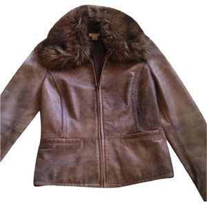 Nordstrom Bomber Faux Fur Distressed Leather Distressed Brown/Taupe Leather Jacket