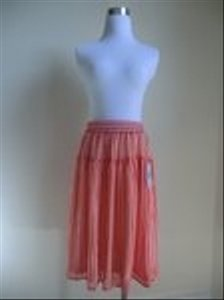 DownEast Basics Elastic Waist Small Skirt Orange White Striped