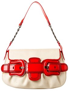 Fendi Flap Canvas Red Patent Shoulder Bag