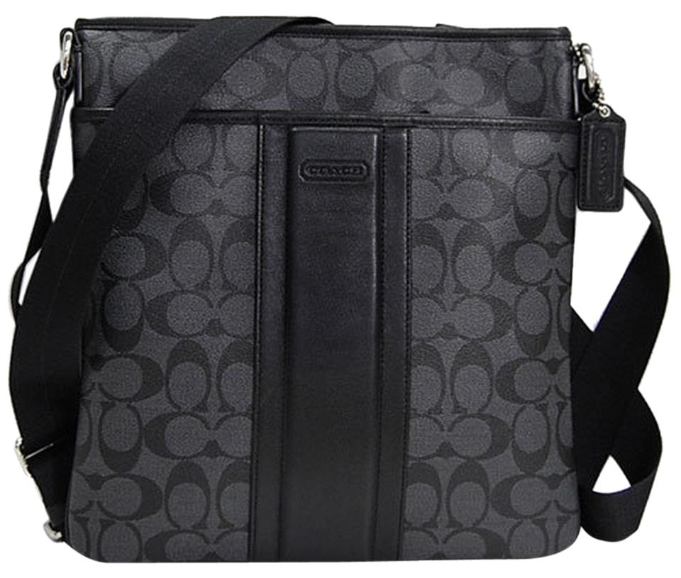 e786f0691a Coach Heritage Signature Small Zip Top F71131) Silver Charcoal Black  Leather Cross Body Bag