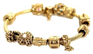 PANDORA Gold 8 Piece Diamond Embellished Charm Bracelet retail 6300