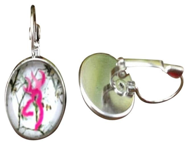 Item - Silver Pink Camo Deer Handmade Leverback Earrings