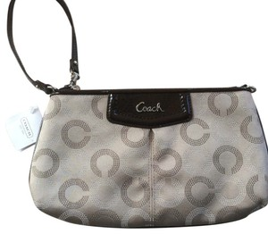 Coach Ashley Large Sateen Wristlet in Khaki/Mahagony