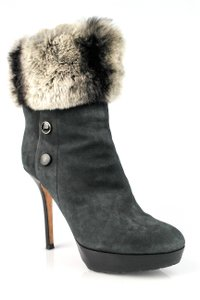 Dior Suede Ankle Fur Black Boots
