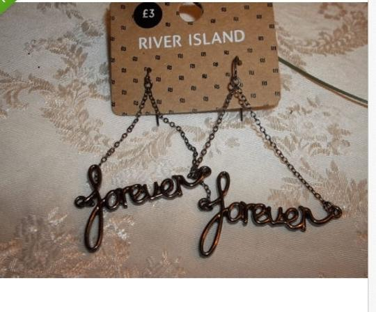 "River Island ""FOREVER"" GUN METAL CHANDELIER SCRIPT EARRINGS FROM RIVER ISLAND"
