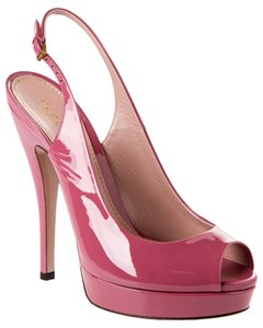 Gucci Patent Leather Slingback Vintage Rose Pumps
