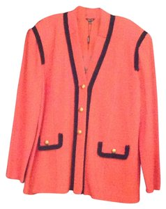Misook Coral with midnight fringe trim Blazer