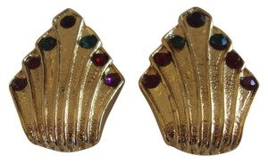 Bluette Vintage Bluette Gold Tone Shoe Clips With Rhinestones Signed