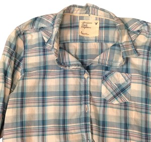 American Eagle Outfitters Button Down Shirt Plaid/Multi
