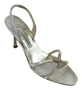 Manolo Blahnik Metallic Leather Lizard Stiletto Silver Sandals
