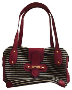 Eric Javits Satchel in BLUE WITH MAROON LEATHER