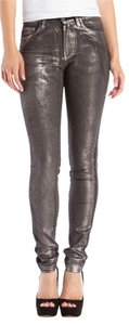 Karl Lagerfeld Silver Black Stretch Denim Skinny Jeans-Coated