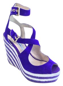 Brian Atwood White Velvet Platform Purple/White Wedges