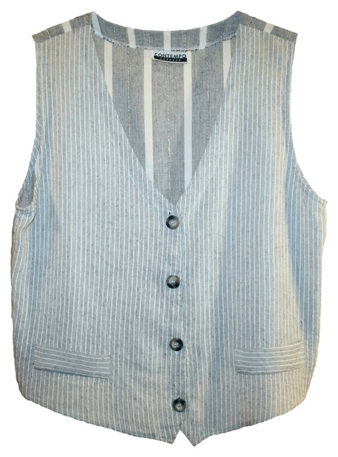 Item - Gray and White Striped Vest Size 8 (M)