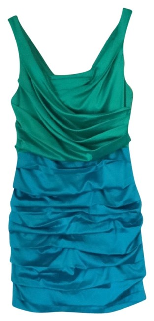 Preload https://item2.tradesy.com/images/express-green-and-blue-short-cocktail-dress-size-8-m-825481-0-0.jpg?width=400&height=650