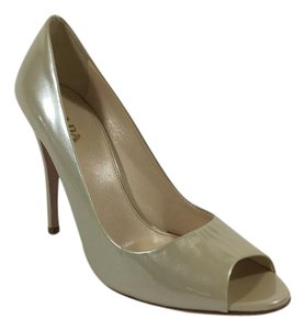 Prada Heels Peep Toe Patent Leather Gloss Nude Pumps