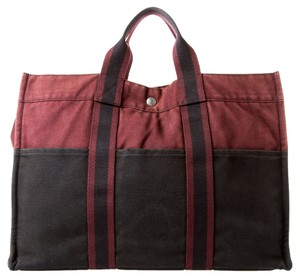 Herms Hermes Cotton Tote in Burgundy/Black