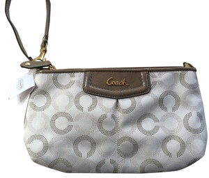 Coach Ashley Large Sateen Wristlet in Light Khaki/Taupe