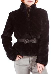Moschino Faux Fur Belt Bow Black Jacket