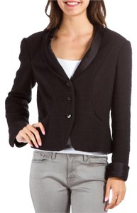 Chanel Tweed Silk Trim Tweed Black Jacket