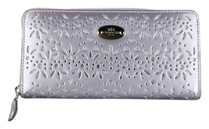 Coach * Coach Purple Eyelet Leather Zip Around Accordion Wallet