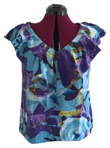 Trina Turk Floral Silk Classic Ruffles Top Turquoise, pink and green