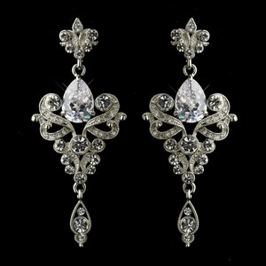 Elegance By Carbonneau Vintage Inspired Antique Silver Cz Wedding Earrings