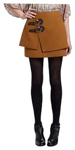 Anthropologie Fall Buckle Mini Skirt Camel