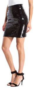 Hervé Leger Sequin Body Con Mini Skirt Black