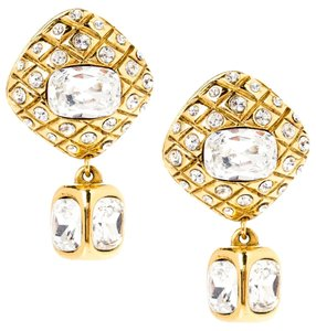 Chanel Chanel Crystal and Gold Clip On Earrings