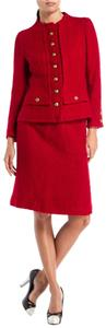 Chanel Chanel Vintage Red Tweed Skirt Suit